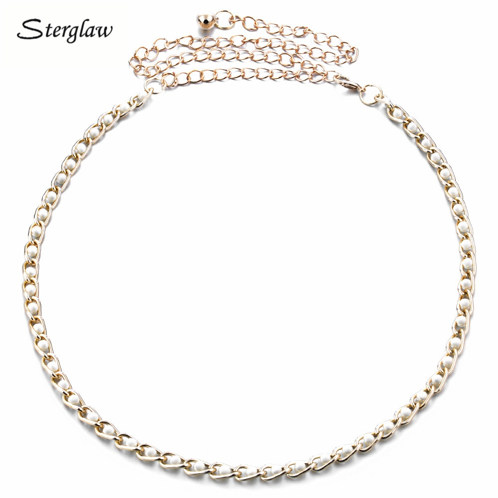 Metal pérola fina cinto de corrente da cintura para as mulheres vestidos 2020 marca de luxo ouro emagrecimento metal cinto feminino cinturones mujer f010