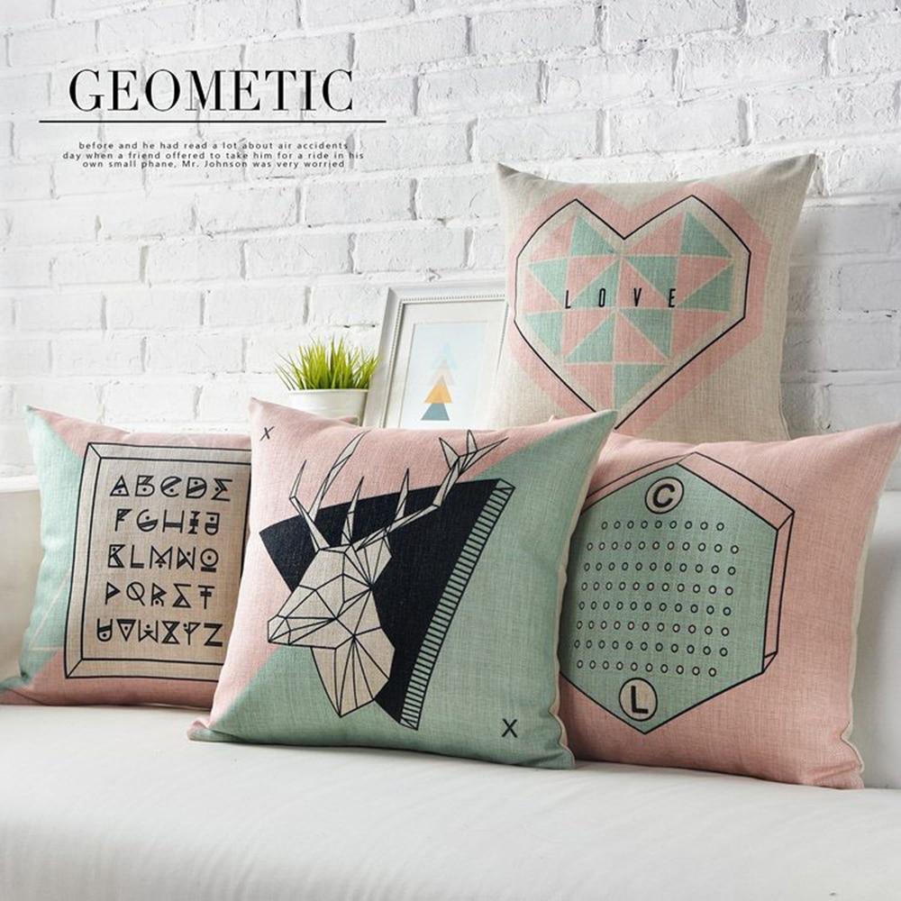 Простая английская Скандинавская Геометрическая подушка, подушка с оленем, поясничная подушка, льняная наволочка, диванная подушка, домашние декоративные подушки