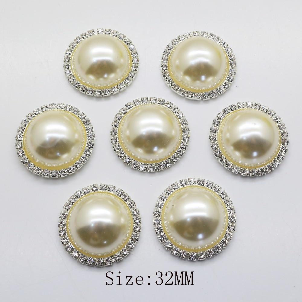 ¡Oferta! 10 unids/lote 32mm marfil redondo accesorios de joyería parte posterior plana perlas de imitación ajustes de Base al por mayor accesorio hecho a mano