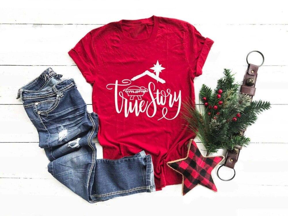 Historia Verdadera chica regalo Navidad camiseta ropa Harajuku carta Tops gráfico estética...