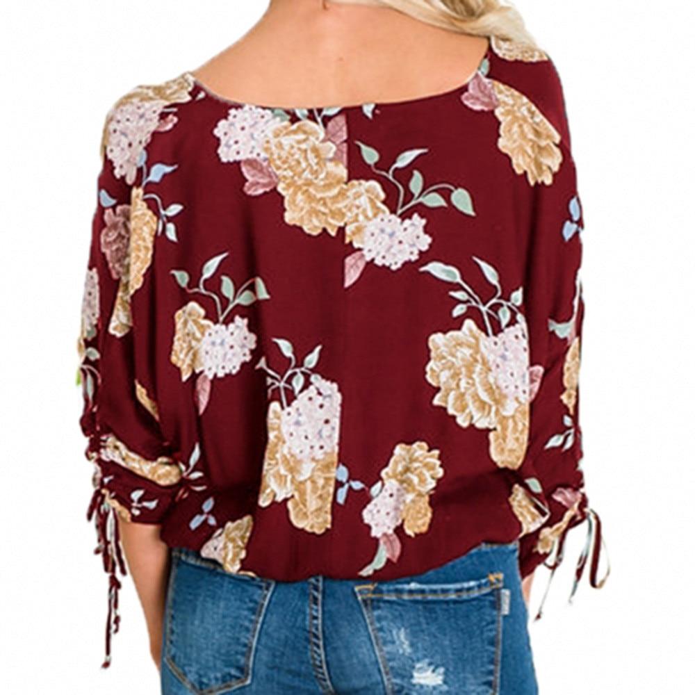 Blusa Casual con estampado Floral Botón de manga larga con cordón lateral para mujer Camisetas y blusas para mujer bluzka damska