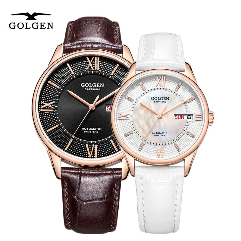 GOLGEN Watch Business Automatic Mechanical Watches Couple Watch 50m Waterproof Top Brand Luxury Wrist Watches