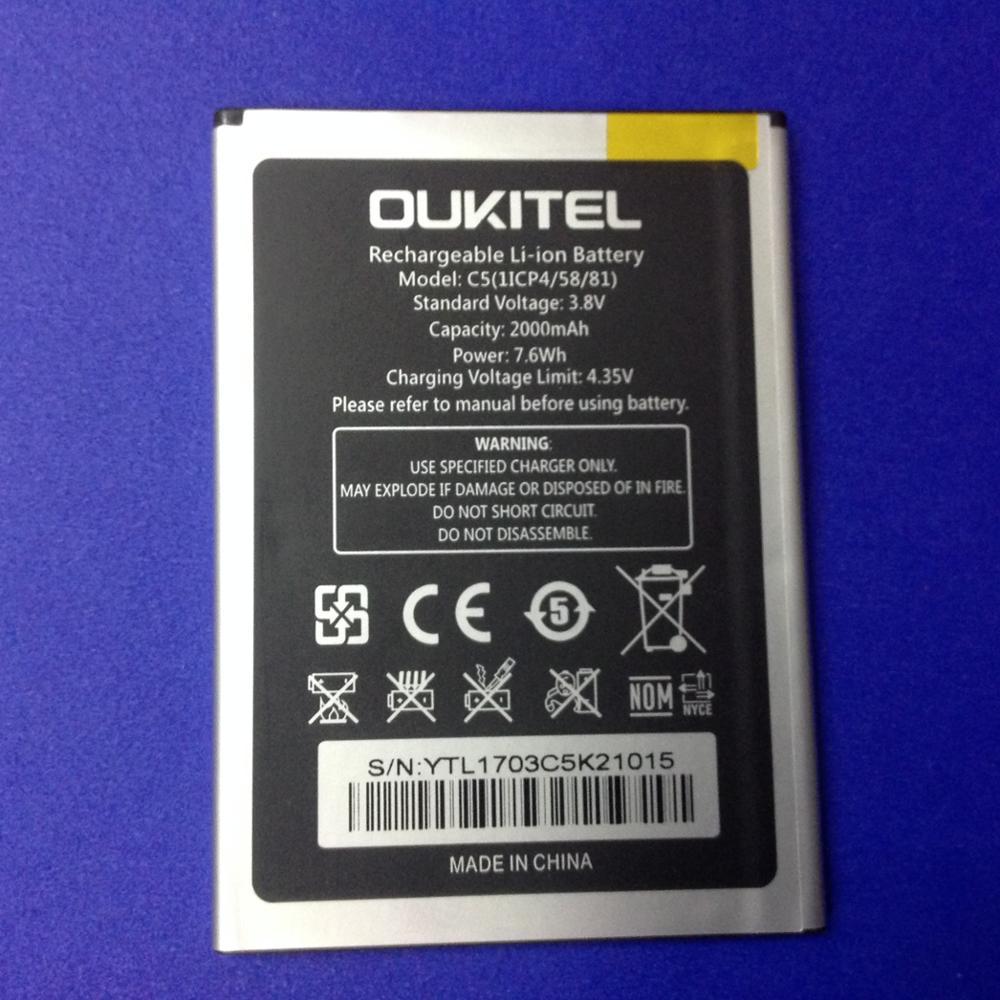 Mobile phone battery OUKITEL C5 battery 2000mAh Original battery High capacit Mobile Accessories OUK