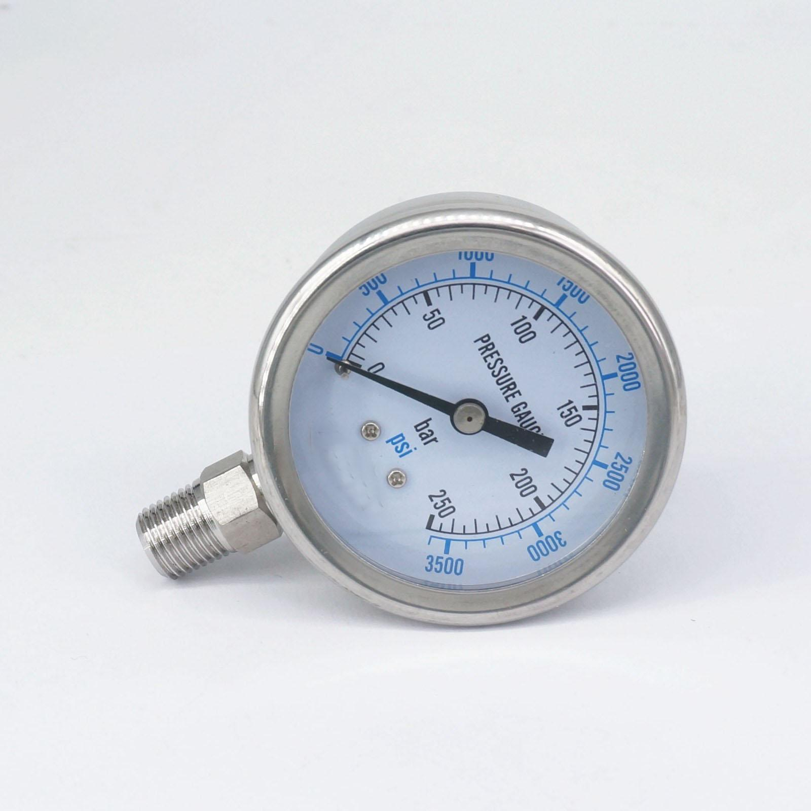 """0-250bar 1/8 """"NPT Macho 60mm Dial manómetro 304 Barra inoxidable PSI N2 vapor elaboración aire neumático Gas agua combustible"""