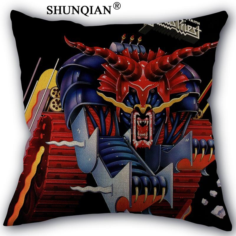 Linen Cotton Pillowcase judas priest Printed Pillow Cover Home Textiles Decorative Pillowcase Customize Gift 45x45cm one side