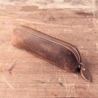 Retro Genuine Leather pencil case for school boys girls pencil bag pencil-case school supplies pencil cases BD15