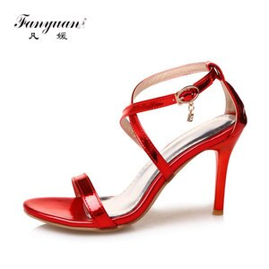 Fanyuan 2017 Summer Shoes Women Sandals Sexy Design Ankle Strap Cross-tied Super High Heel Lady's Elegant Working Pump Shoes