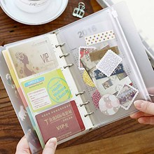 XRHYY 4-Packs Clear cremallera de plástico PVC bolsillos A6 6-Ring Notebook Binder para guardar sellos cupones bolígrafos borradores billetes