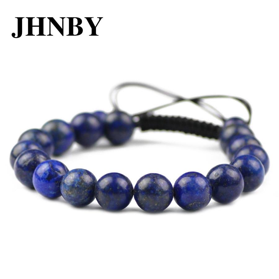 JHNBY lapislázuli Natural pulsera de piedra para mujer 6/8/10/12MM cuentas trenzadas/elástico cuerda encanto brazalete moda hombres joyería regalo