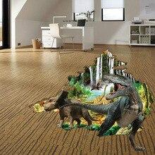 Stickers muraux 3D dinosaure animaux   Autocollant de sol imperméable, en PVC, pour chambres de bébé, Stickers muraux de parc Jurassic, décoration de maison