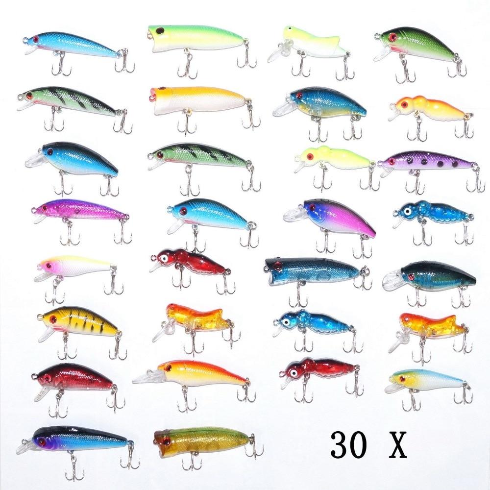 30pcs Fishing Lures Crankbait Bass Minnow Hooks Crank Bait Poper Hard Plastic Wobler Lures Topwater Lure Set