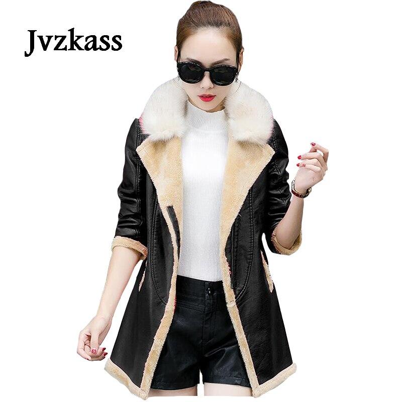Jvzkass 2018 invierno de talla grande temperamento piel grande collar sección larga de las mujeres de cuero grueso de PU de manga larga de cuero Delgado Z35