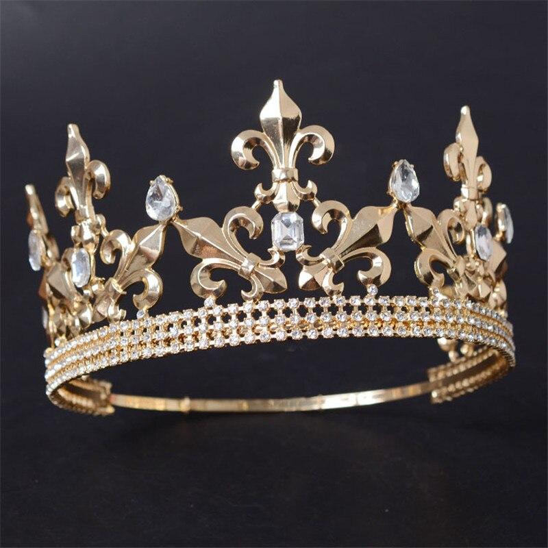 Diadema redonda ajustable para boda, corona para hombre, adornos para el cabello para fiesta, accesorios de joyería para cabeza con diamantes de imitación