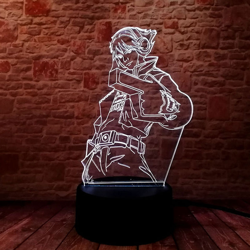 Lámpara Led brillante LOL Ezreal, modelo 3D de ilusión, luz nocturna táctil colorida, iluminación de Flash lol EZ, figuras de acción de juguete