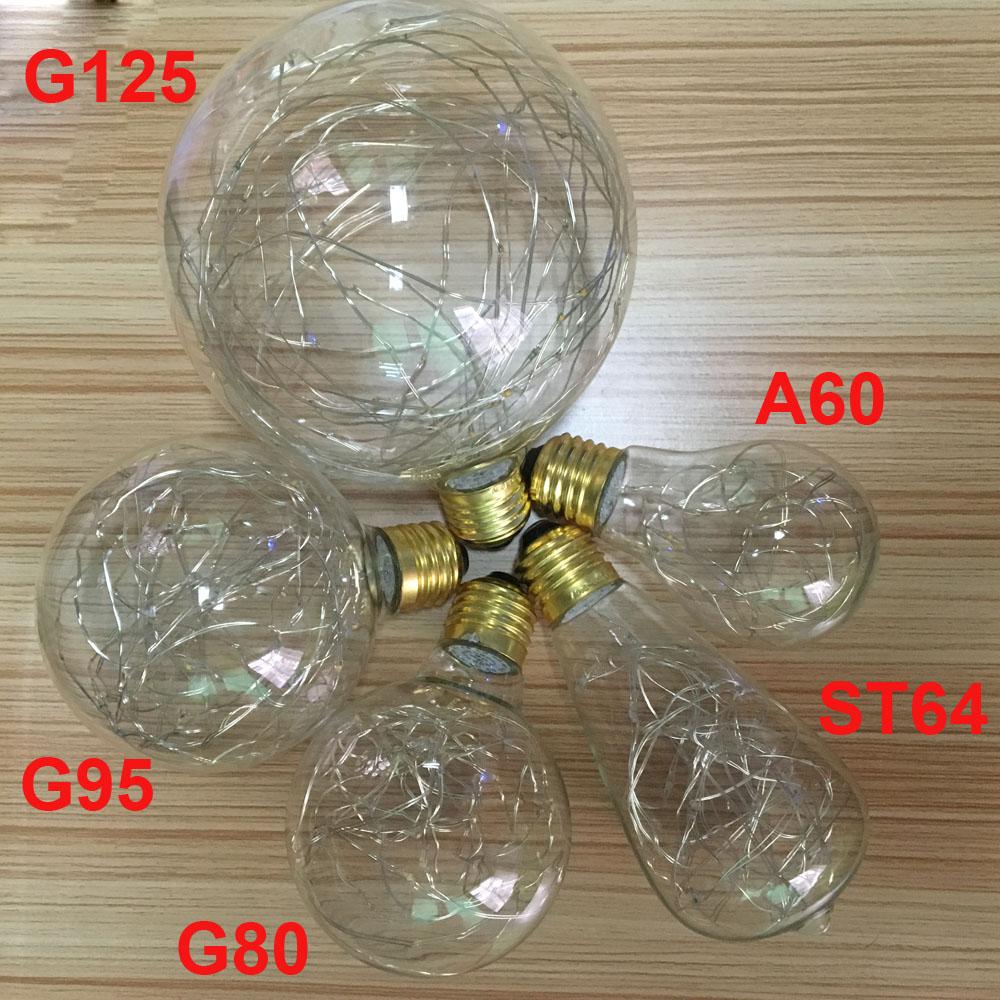 A60/ST64/G80/G95/G125 String Light Bulb Retro Art Design Edison Style Filament Copper Wire Starry Light Bulb Warm White RGB Pink