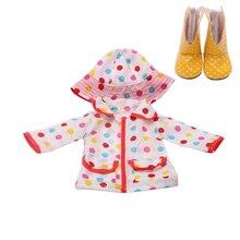 18 pouces filles poupée vêtements imperméable imperméable manteau impression robe avec chaussures américain né chapeau bébé jouets ajustement 43 cm bébé poupées c271
