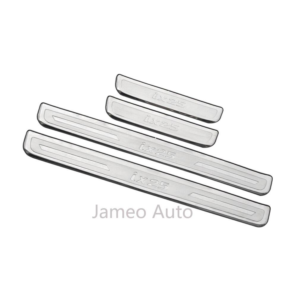 Carmilla Acero inoxidable 4 unids/set coche Umbral de puerta desgaste placas pegatinas para Hyundai Creta Ix25 2015, 2016, 2017, 2018, 2019 piezas