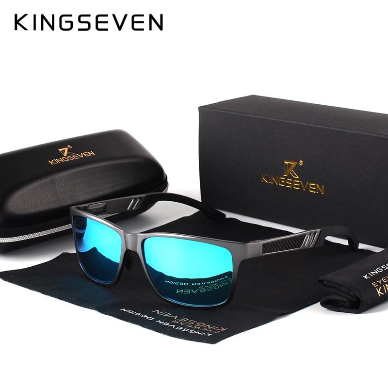 KINGSEVEN Men Polarized Sunglasses Aluminum Magnesium Sun Glasses Driving Glasses Rectangle Shades F
