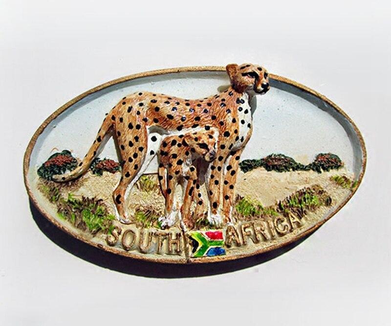 Suráfrica Cheetah alta calidad de resina 3D imán de nevera viaje souvenir de imanes de nevera decoración del hogar pegatinas magnéticas