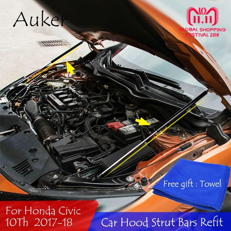 Para 2006-2011 Honda Civic 2017 Motor de capó delantero que soporta barra hidráulica resorte de elevación barras de choque soporte estilo de coche