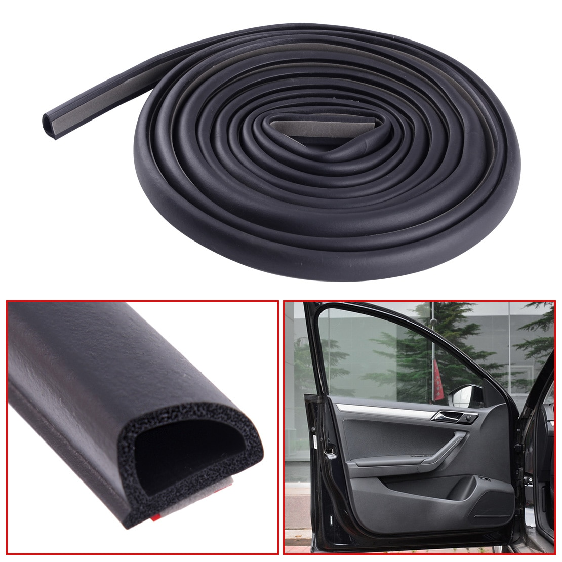 CITALL Universal 4m tira de sellado para puerta de coche de aislamiento de goma inclinado D en forma para maletero Hood borde Accesorios