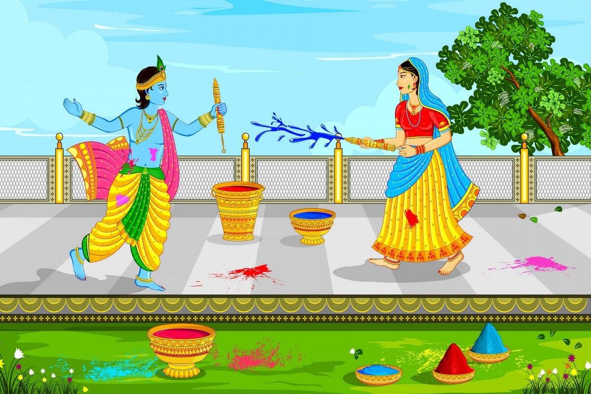 Lord Krishna y Radha jugando con holi religion paint PYS50 póster de tela con impresión personalizada decoración de pared decoración de habitación decoración del hogar