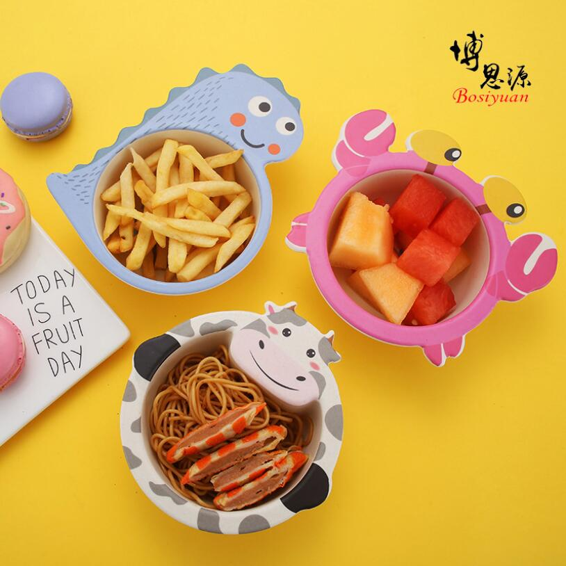 Миска для кормления детей из бамбукового волокна, миска для кормления детей с рисунками животных, оригинальная пищевая добавка, миски, детская посуда в подарок, посуда