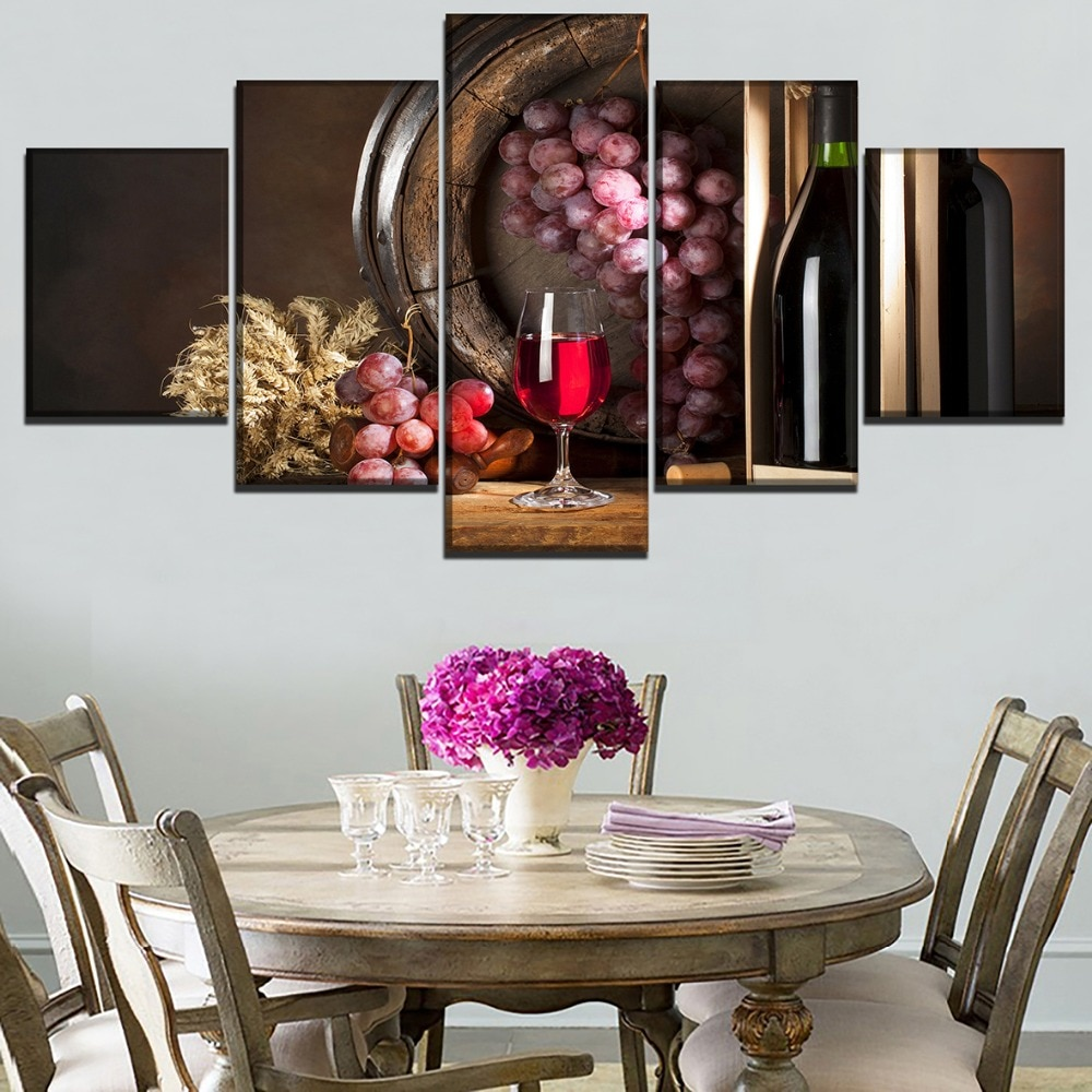 Imagen modular artística de pared lienzo impreso cartel de vino tinto 5 piezas barril de roble y pintura de copa de vino tinto para cocina o restaurante