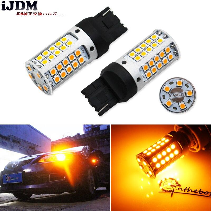 IJDM لا المقاوم ، لا فرط فلاش 21 واط عالية الطاقة العنبر الأصفر W21W T20 7440 LED مصابيح سيارات الجبهة أو الخلفية بدوره أضواء الإشارة