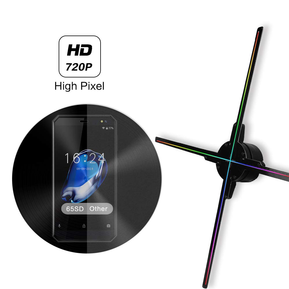Updating 50CM 4 fan hologram fan light with wifi control 3D hologram Advertising Display LED Fan hologram Imaging for holiday