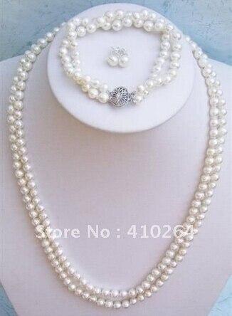 Venta caliente hermosa 2 filas blanco agua dulce collar de perlas conjunto