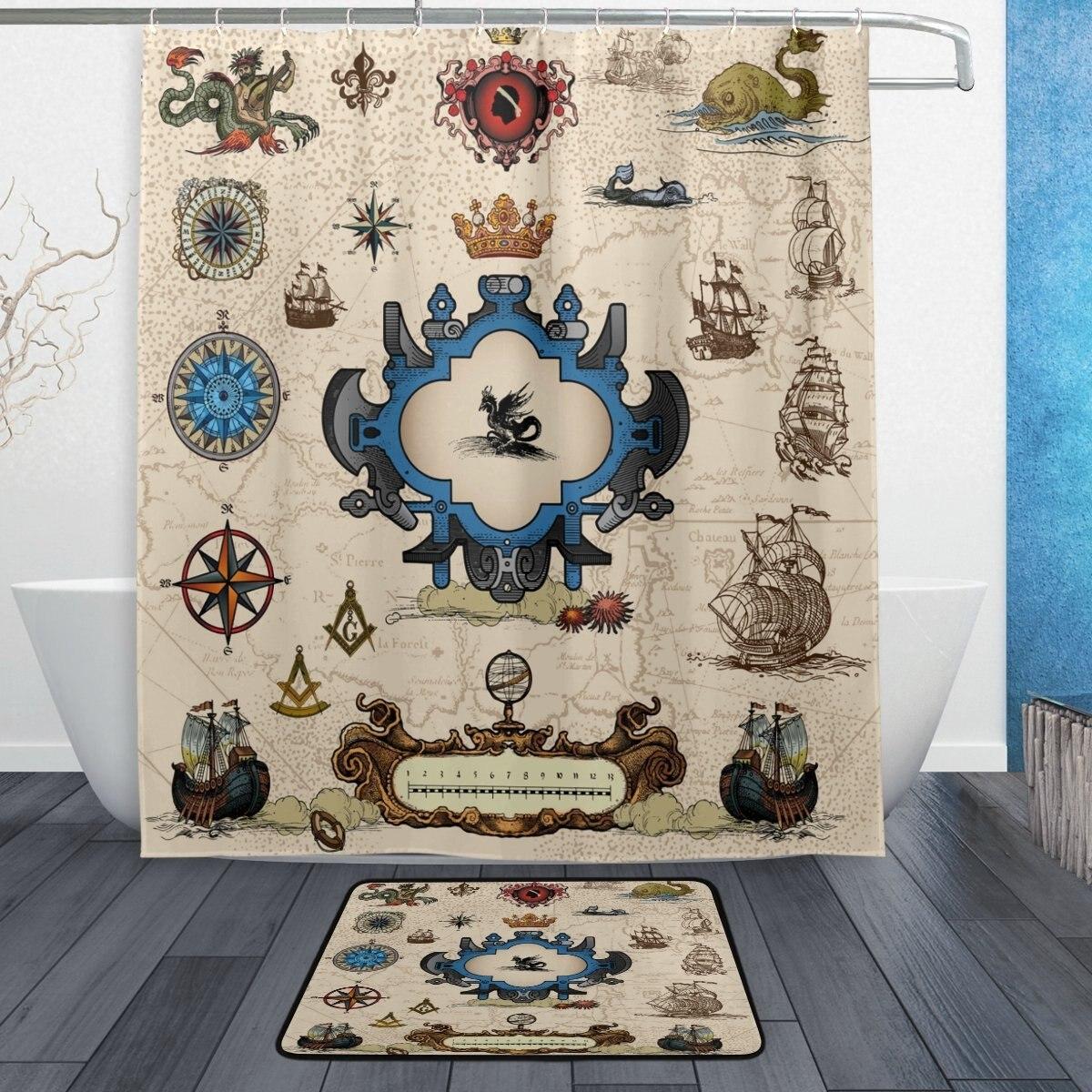Mapa vintage brújula velero impermeable tela de poliéster Cortina de ducha con ganchos felpudo baño suelo alfombra baño hogar Beige