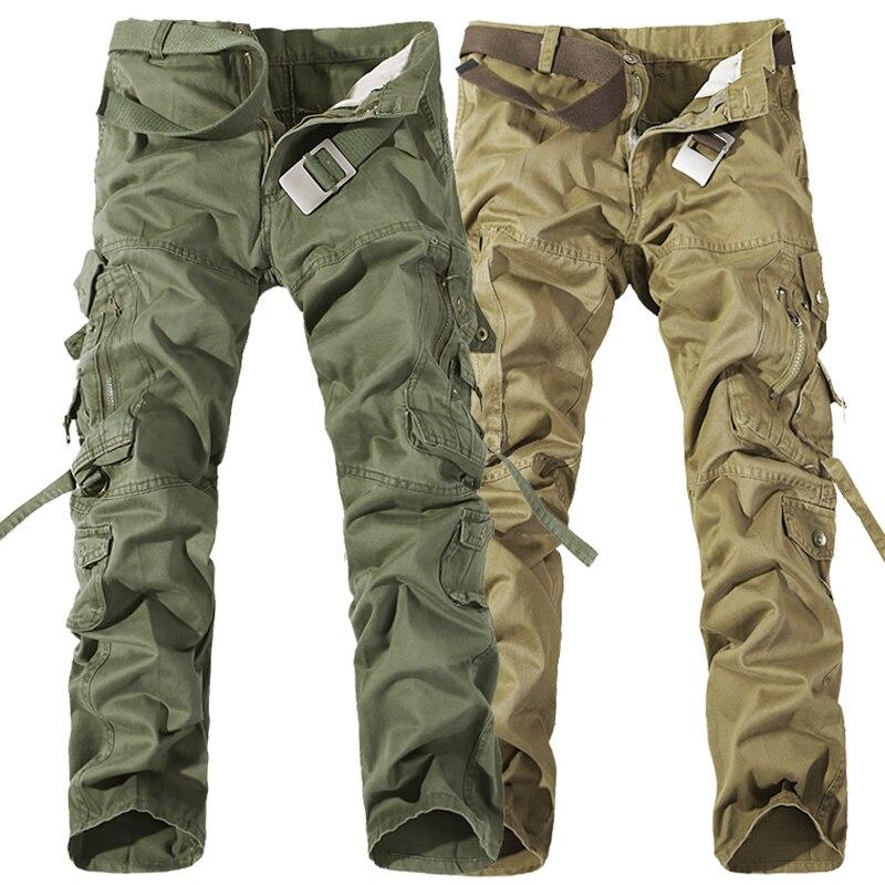 MIXCUBIC 2018 marca ejército pantalones tácticos Multi-pocket washing 100% algodón suelta verde del ejército cargo pantalones hombres plus tamaño grande 28-42