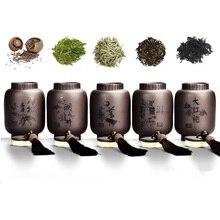 Latarnia w kształcie pojemnik na herbatę purpurowa glina pojemnik na herbatę Mini przechowywanie zamknięty zbiornik na przenośne podróże odporne na wilgoć uszczelnione słoiki