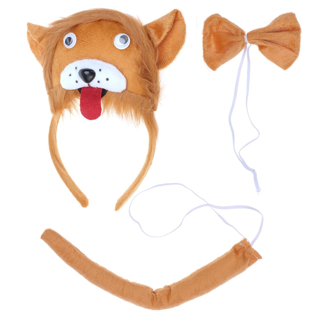 Diadema de León para niños con orejas de Animal bonitas, diadema, corbata para fiesta y cola, disfraz de Cosplay, recuerdos de fiesta