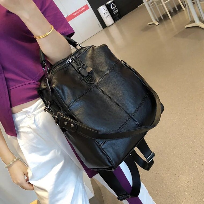 2019 retro backpack female brand leather women's backpack large capacity student bag girls casual shoulder bag female casual backpack female brand leather women s backpack large capacity school bag for girls double zipper leisure shoulder bags