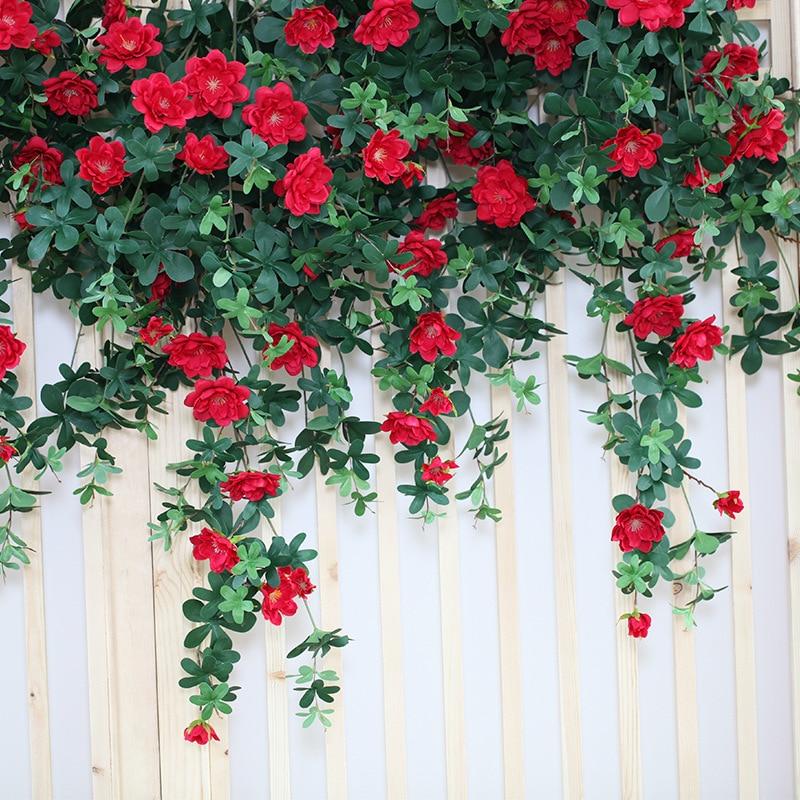 Chese 1 pcs Seda Artificial Rose Flores Vinha Pendurado Decoração Do Casamento Folhas Verdes Pendurados Vinha Para Casa Garden Wall Decor