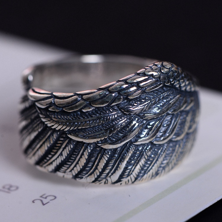 Moda 925 Plata de Ley Retro pluma ángulo ala anillo abierto hombres Thai plata regalo dedo águila ala CH056730