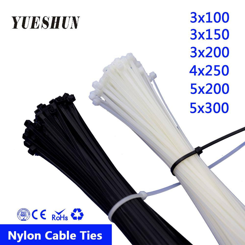 100PCS Nylon Cable Ties 3*100 3*150 3*200 White Black Wire Self Lock 50pcs 5*300mm Zip 100mm 150mm 200mm 250mm