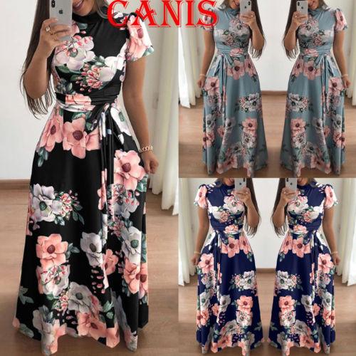 NEW Boho Womens Holiday Short Sleeve Floral Maxi Dress Ladies Summer Beach Party High Waist Dresses