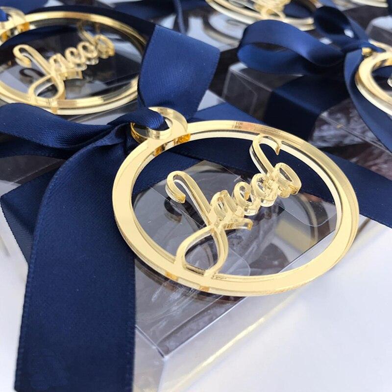 Etiquetas de nombre personalizadas redondas doradas y acrílicas para bebés, etiquetas de nombre de espejo personalizadas para bebés, etiquetas de nombre cortadas con láser para regalo de Boutique, recuerdos para bebés