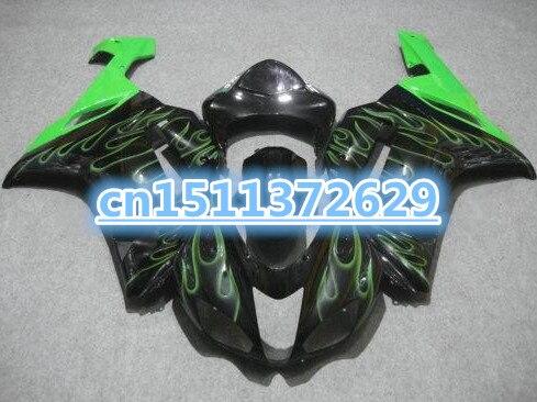 Carenados de plástico Bo ABS para motocicleta Kawasaki Ninja 636 2007 2008 ZX6R 07 08, kits de carenado de llamas verdes y negras