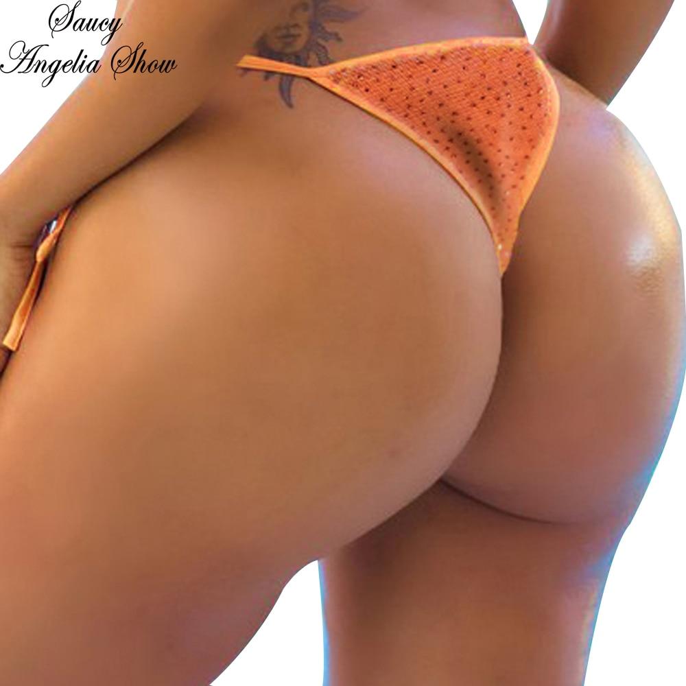 SAUCY ANGELIA, traje de baño para mujer, Sexy Tanga de lentejuelas, traje de baño separado, traje de baño ajustado, Tanga brasileño, Bikini, parte inferior G-String XL