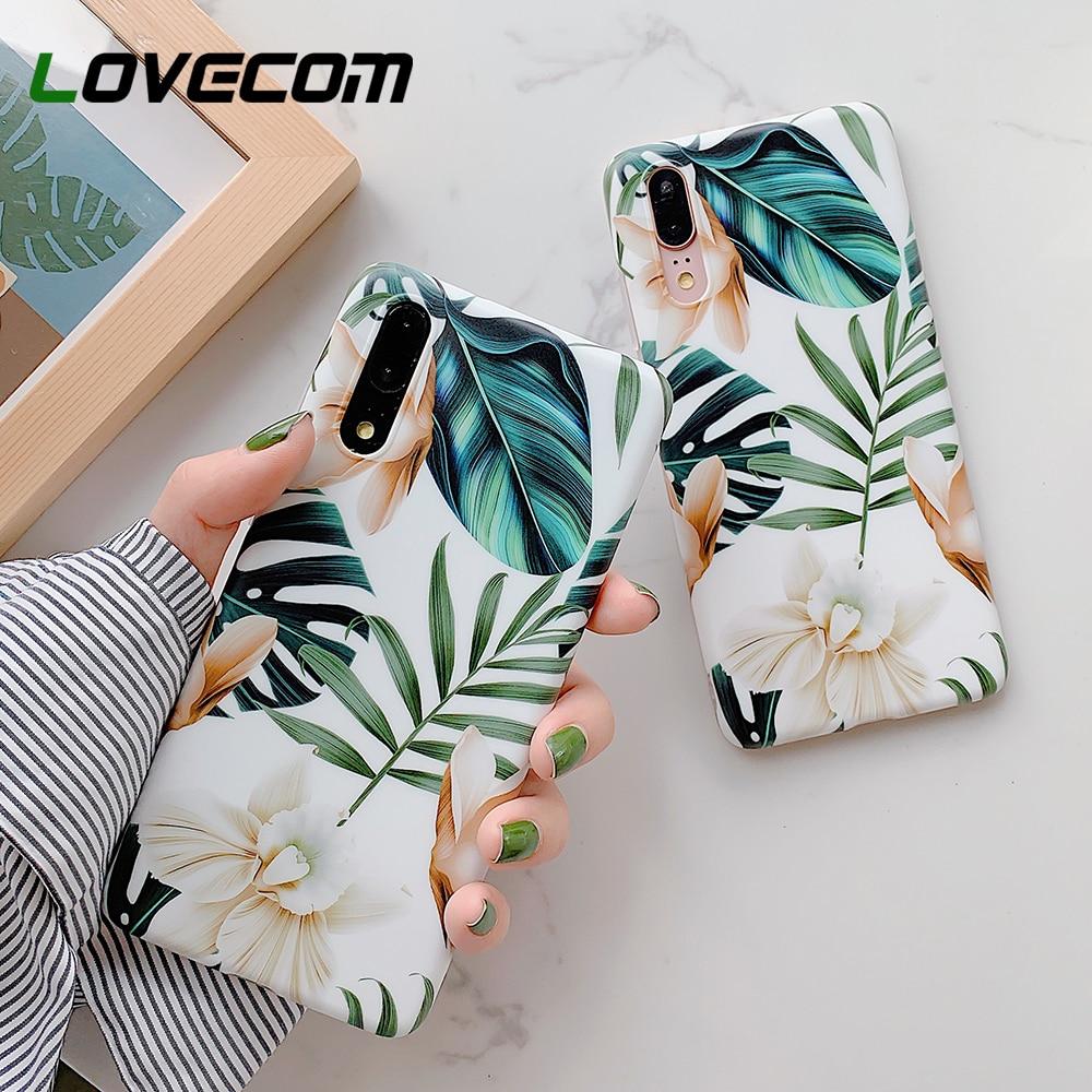 Funda de teléfono LOVECOM Flor Retro Leaf con anillo para Huawei P30 P40 Pro P20 P30 Lite Mate 20 30 Lite funda IMD suave bolso de funda de teléfono