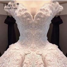 Pearl Beading Ivory Satin Vintage Wedding Dress Vestidos De Noiva De Luxo 2020 Sexy Wedding Dresses Turkey Dubai Luxury Style