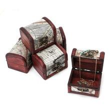 Houten Piraat Kaart Sieraden Storage Box Case Houder Vintage Schat Borst MAY-24B