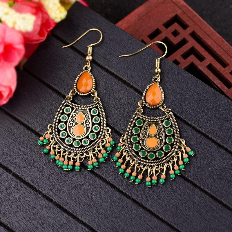 ¡Novedad! pendientes de gota de agua estilo Retro de la India Jhumka Jhumki, cuentas verdes y naranjas, pendientes de borla de bronce, joyería tibetana HQE1011