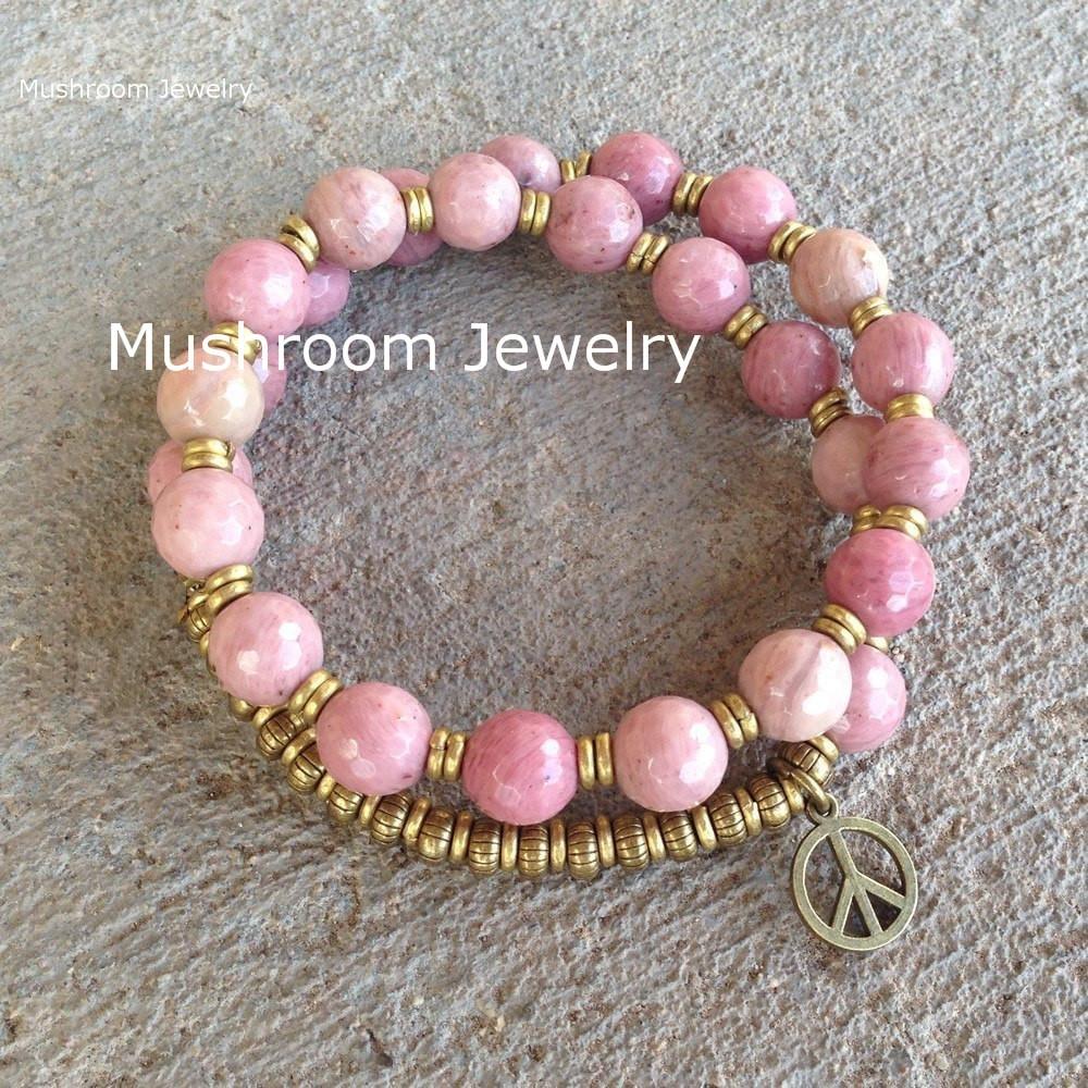 Bohemian Faceted Rhodochrosite Mala Bracelet Wrist Beaded Stretch bracelet Wrap Mala Wrist Bracelets