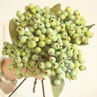 artificial berry green bean foam flowers home decor small fake flowers bacca fruit branch decoration accessories faux plant