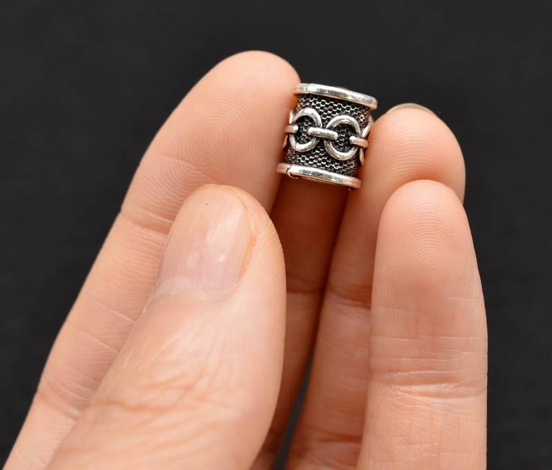 2pcs/lot Antique Silver Antique Bronze Metal Large Hole Dreadlock Hair Charm Viking Rune Hair Tube Bead Pendant Jewelry Finding